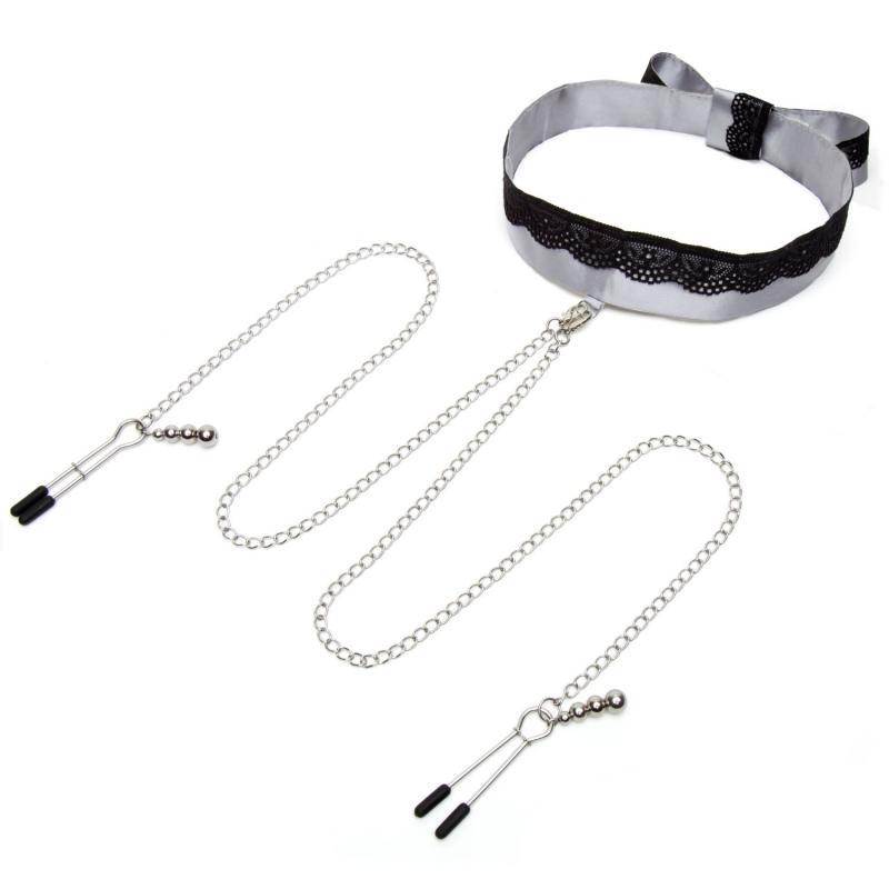 Fifty Shades Of Gray - Satijnen Collar Met Tepelklemmen